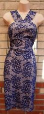 NEW LOOK BLUE CREAM FLORAL LACE BODYCON TUBE PENCIL PARTY EVENING TEA DRESS 8 S