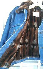 NEIMAN MARCUS Medium Blue Wash Fur Lined Jean Jacket Sz SMALL