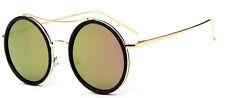 Mohawk Ladies Oversize Round Designer Sunglasses Black Rim & Pink Lens UV400 Y81