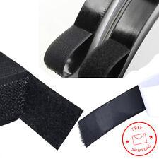 (2x) 25mm x 25mm Black Self-Adhesive Hook Loop Fastening Tape