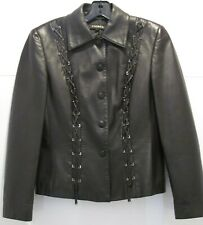 NWOT Escada black leather jacket, accents of black leather braids, lined. SZ 36