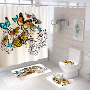Butterflies Shower Curtain Bathroom Rug Set Thick Bath Mat Toilet Lid Cover