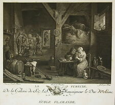 "David II TENIERS "" La Fumeuse"" Gravure Charles Emmanuel PATAS Ed Couché 1786"