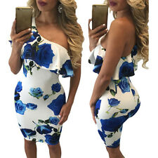 UK Women Bodycon Mini Dress Bardot off Shoulder Floral Ladies Cocktail Size 6-16 6 Red