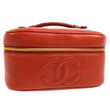CHANEL CC Cosmetic Vanity Hand Bag 3328383 Purse Red Caviar Skin JT09031a