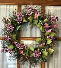 Lilac Floral Wreath Front Door Decor Grapevine Purple Outdoor 20""