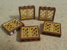 Lego City 5 x Brown Window Frame with 2 Gold Diamond Panes NEW