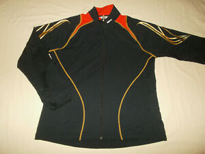 NEW ASICS FULL ZIP BLACK WITH RED & GOLD TRIM ATHLETIC JACKET WOMENS  XL