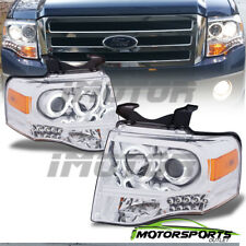 [Dual CCFL Halo] 2007-2014 Ford Expedition Chrome LED Projector Headlights Pair