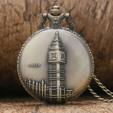 Antique Bronze Big Ben London Quartz Pocket Watch Necklace Pendant Xmas Gift New