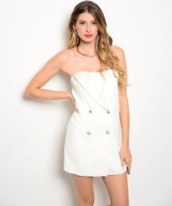 Double-breasted strapless shorts romper by LLove