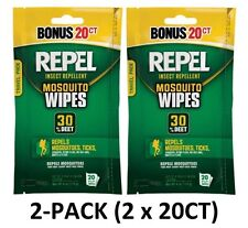 Repel 94100 Sportsmen 30-Percent Deet Mosquito Repellent Wipes, 2 Packs of 20
