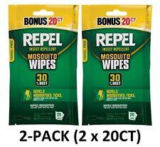 2-PACK Repel Wipes 20CT, 94144 Sportsmen 30%DEET Mosquito Repellent (40-Total)