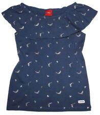 Leichtes T-Shirt mit breitem Volant in Blau mit Glitzer Print in Silber S.OLIVER