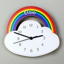 Children's Personalised Rainbow and Cloud Wooden Bedroom Clock - Add Childs Name