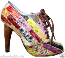 DOLCE & GABBANA Multicolor Patchwork Python  Open Toe Shoes Boots
