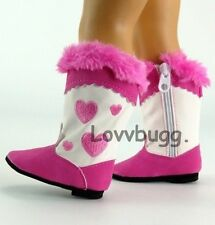"""Hot Pink Heart Cowboy Boots Western for American Girl 18"""" Doll Shoes By Lovvbugg"""