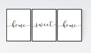Set of 3 Home Sweet Home Prints, Living Room Prints