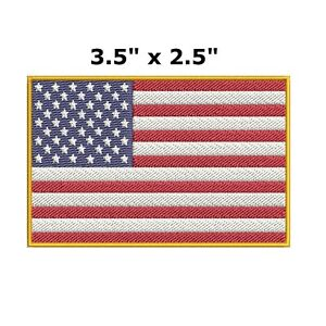 AMERICAN FLAG EMBROIDERED PATCH iron-on GOLD BORDER USA US United States QUALITY
