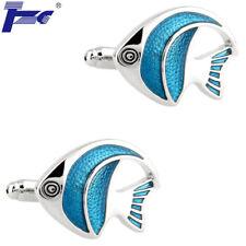 Men Blue Fish Enamel Cufflinks With Velvet Bag TZG Cuff Links