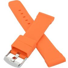 20mm Silicone Rubber Watch Strap Band in Orange Oryginal Buckle Stainless Steel