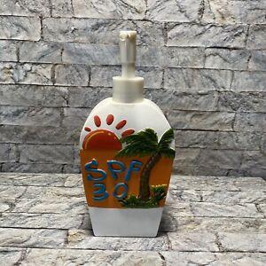 SPF 30 Sunscreen Beach Breeze Palm Tree Bath Bathroom Lotion Soap Dispenser