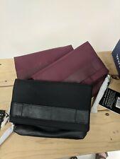 Black Jill-E iPad Clutchlet Sleeve; Leather & Nylon; Purple Patterned Interior