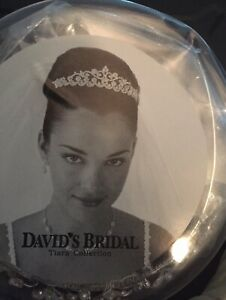 David's Bridal White  3- Organza/ Rose Hairpiece With Pearl Crown