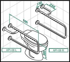 Asidero WC baño Triple Barra seguridad resistente antideslizante acero inoxidabl