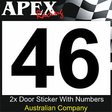 CAMS Approved Sizing Motor Racing Door Number Stickers - Race Rally Drift