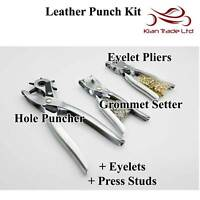 Hole Punch Grommet Tool Kit Leather Eyelet Pliers Puncher Studs Leather Belt