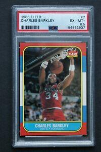 1986 Fleer #7 Charles Barkley PSA 6.5 EX-MINT+  GREAT CARD!!!