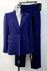 NWT $320 KASPER Navy Blue TABLEAU PANT SUIT Blazer Jacket One-Button Modern M 8