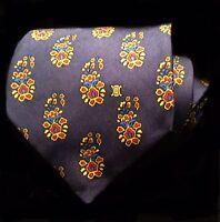 "Vintage Celine Men's Silk Tie Purple W/ Red & Gold Floral Print 3½"" W Mint Cond."