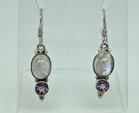 Gorgeous Vintage Sterling Silver Moonstone & Amethyst Drop Earrings