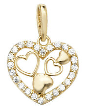 Stunning 9ct Gold Ladies Heart Pendant with Cubic Zirconia/CZ - 15mm*11mm
