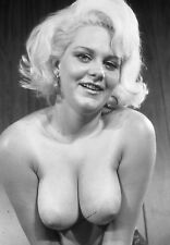 Vtg B&W 1950s Photo Girl Pinup Naughty Hangers Boobs Busty Tits Risque #1356