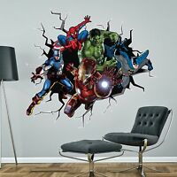 SUPERHEROES superhero breaking through WALL STICKER BATMAN HULK SPIDERMAN decal