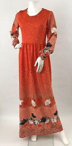 Vintage Jennifer Gee Maxi Dress Hostess Long Sleeve Floral Poppy Flower 70's M/L