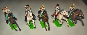 5 BRITAINS CONFEDERATE CAVALRY DEETAIL #7439 MADE IN ENGLAND IN 1971 A2