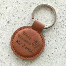 Personalised Christmas Leatherette Keyring Engraved Xmas present Gift Teacher