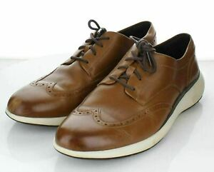F11 $180 Men's Sz 11.5 M Cole Haan Grand Troy Leather Wing Derby In Tan