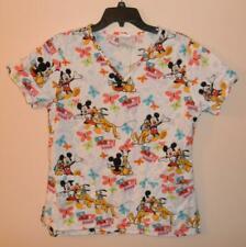 Disney Mickey Minnie Mouse Pluto Medical Scrub Uniform Top Small