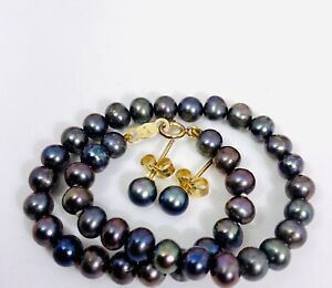 "Vintage Sign ""M""  Mikimoto south sea Pearl ?  14K 585 Bracelet earring set 8gram"
