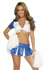 Cheerleader Kostüm Gr.S/M 32-34 blau weiß Pailletten Pom Poms weiß Rock Top