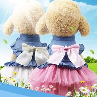 Pet Dog Princess Dress Clothes Girl Cat Cute Skirt Bowknot Summer Supplies XS-XL