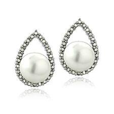 925 Silver Diamond Accent White Freshwater Cultured Pearl Teardrop Stud Earrings