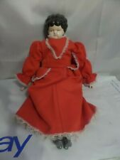 Vintage Soft Body Doll Porcelain Face and boots Red polyester Dress Brown Hair
