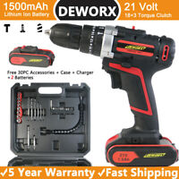 CORDLESS COMBI HAMMER IMPACT DRILL DRIVER ELECTRIC SCREWDRIVER WITH 2 BATTERIES