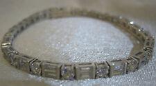 New Sterling Silver Cubic Zirconia Tennis Bracelet w/rect & round links w safety